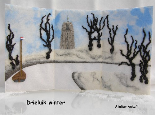Patroonblad Drieluik Winter
